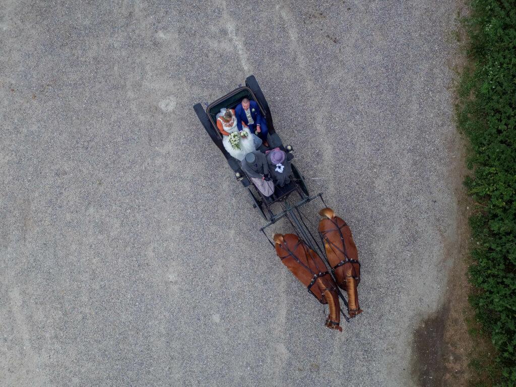 Bryllups fotograf drone billede luft foto