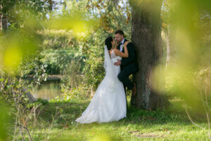 Wedding couple kissing