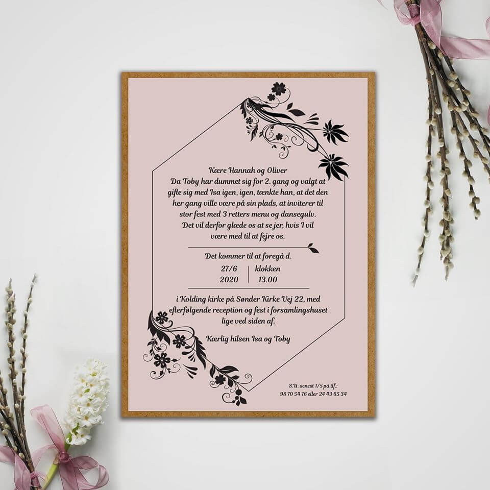 Bryllups invitation design og tryk